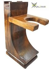 Mission Style Wood Safety Straight Razor & Brush Stand Walnut Finish