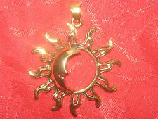 NEW 35MM WICCAN PAGAN MAGIC GOLD TONE SUN RAY MOON CHARM PENDANT NECKLACE
