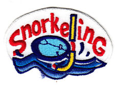 """""""SNORKELING"""" w/FACE MASK- Iron On Embroidered Patch - Swimming, Sports, Words"""