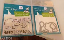 LAWN FAWN STAMP & MATCHING CUTTING DIE - YEAR FOUR 4 Hippo Birdie to you