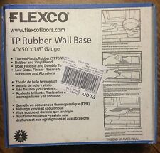 """Flexco 4""""x1/8 x50' ThermoPlastic Rubber Wall Base* Black !NEW IN BOX! dry back"""