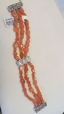 "Artisan Crafted Sterling Limited Edition Peach Moonstone Bracelet  Fits 7"" Wrist"