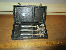 Antique TSL Darts in hinged fitted case. Metal + wood with real Feather flights