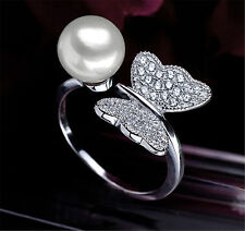 Butterfly CZ Natural Freshwater Pearl White Adjustable Genuine Silver Ring
