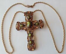 VTG JULIANA GREEN & TOPAZ NAVETTE RHINESTONE CROSS PENDANT NECKLACE