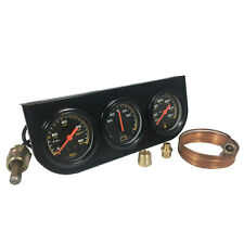 "UNIVERSAL 2"" BLACK OIL PRESSURE WATER AMP TRIPLE 3 GAUGE SET GAUGES KIT"