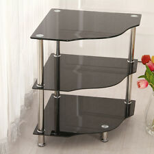 Black Glass Telephone Corner Side End Table 3-Tier Rack Stand Unit Storage