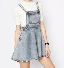 USM Women Vintage Washed Denim Overall Jumper Dress Summer Jean Mini Skirts Blue