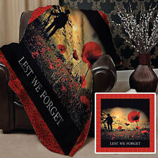 LEST WE FORGET POPPY DESIGN FLEECE DESIGN SOFT FLEECE BLANKET COVER L&S PRINTS