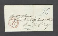 """OLD POINT COMFORT Va."" Beautiful Red CDS on an 1843 LETTER d/l ""Fort Monroe"""
