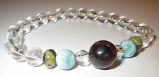 BEAUTIFUL DOMINICAN BLUE AMBER LARIMAR ATLANTISITE CRYSTAL BRACELET