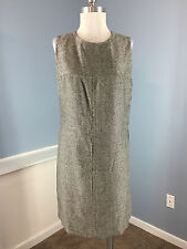 ANNE KLEIN Gray sheath dress Career Cocktail Excellent M 10 tweed Silver Buttons
