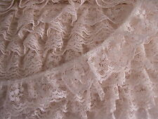5 YARDS, Ivory Ruffled Lace,Raschel Lace,Floral Lace Trim,APPAREL,LINGERIE