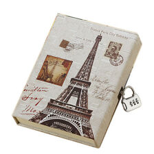 Journal secret diary with lock and password code vintage Eiffel 0080901