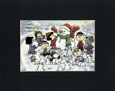 PEANUTS GANG~8 x 10 Mat Print~SNOWMAN BUILDING~MARCI~FRANKLIN~PEPPERMINT PATTY