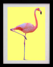 PINK FLAMINGO BIRD YELLOW WALL ART DECO A3 POSTER PRINT - LIMITED EDITION OF 100