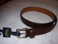 POLO RALPH LAUREN MENS LOGO BROWN GENUINE LEATHER BELT SILVER BUCKLE 32 $75 NWT