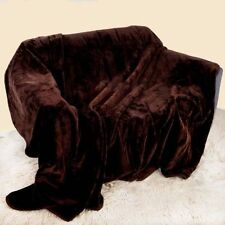 Brown / Chocolate Soft Faux Fur Mink Throw Sofa Bed Blanket - XL (200x240cm)