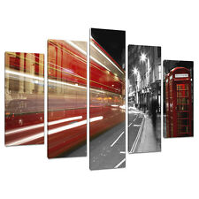 Lot de 5 noir blanc rouge toile imprimé photos London Bus villes 5127