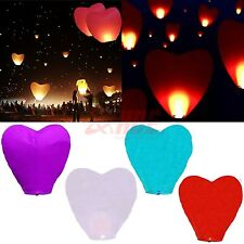 Paper Chinese Lanterns Sky Fly Candle Wish Lamp Wish Wedding Party Heart Shape