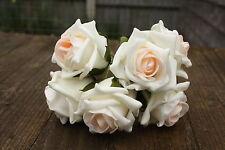 36 x avorio con Pallido Peach Blush centro tridimensionale Schiuma Open Cottage Roses 6cm