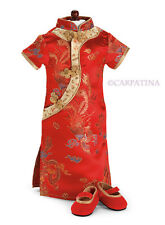 Red Chinese Cheongsam Dress and Shoes Gift fit 18 inch Dolls like American Girl