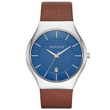 Skagen SKW6160 Luminous Accents Genuine Leather Band Watch Brand New