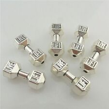 19581 10 Vintage Silver Live Lift Barbell Weight Sport Spacer Beads for Bracelet
