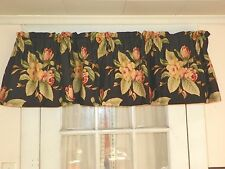 """N RALPH LAUREN """"CHARLESTON"""" COTTON SATEEN VALANCE-LINED BLACK FLORAL-5 AVAILABLE"""
