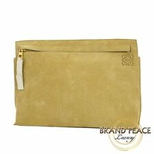 Loewe suede clutch bag T Pouch teapot beige Free Shipping
