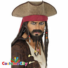 Adults Mens Brown Pirate Hat & Dreadlocks Wig Jack Sparrow Fancy Dress Accessory