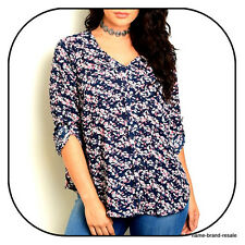 TORRID NWT $44 Womens PLUS 3 3X 22 24 Navy Blue Floral Long Sleeve SHIRT Top NEW