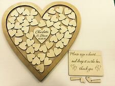 Personalised gold wedding heart shaped guest book drop box wooden 76 hearts