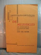 DE MUZIEKLES gymnasium rare old Dutch language music instruction book Batavia