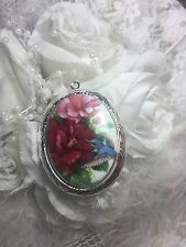valentine Hummingbird Rose Locket Antique Silver Necklace Porcelain Cameo Memory