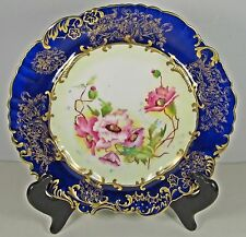 BONE CHINA HAMMERSLEY & CO. COBALT BLUE FLORAL GOLD CRUSTED PLATE - 1887-1912