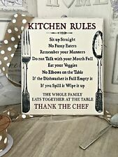 SHABBY CHIC 'KITCHEN RULES' WOODEN WALL DECORATIVE RETRO VINTAGE PLAQUE SIGN