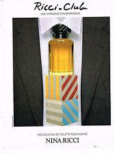 PUBLICITE ADVERTISING 064  1989  NINA RICCI  CLUB   eau de toilette pour homme