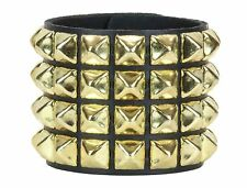 Gold Pyramid Stud 4 Row Leather Punk Rockers Bracelet Goth Emo Rockabilly