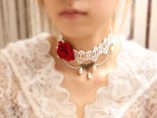 Spitze Samt Halsband Halskette Halsschmuck Choker Barock Perlen Weiss Rose 1178