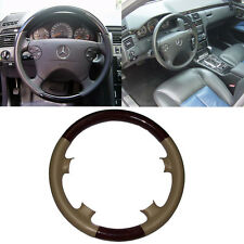 Tan Leather Wood Steering Wheel Cover for 00-02 Mercedes W210 E C208/W208 CLK