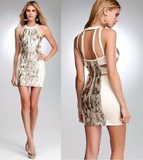 NWT bebe ivory beige sequin texured halter cutout back bodycon top dress XS 0 2