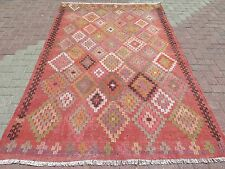 "Large Turkish Kilim Rug,Antalya Rug 63,7"" x 100,7"" Floor Rug,Area Rug Carpet"