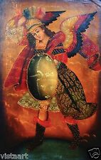 "RARE Cuzco Oil Painting Peru Folk Art 15"" x 23""- ""Warrior Angel with Shield"""