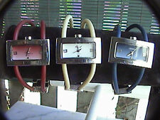 collection of 3 osirock watches red white and blue plastic and metal bands