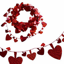 """Red 25"""" Holographic Shiny Heart Foil Garland - Valentine's Day Fun"""