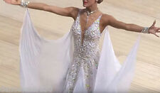 Ballroom Smooth Standard Dance Dress Costume #C1501 White Competition Gown