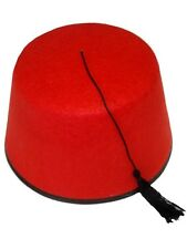 RED FEZ HAT CAP FELT TASSLE TURKISH TOMMY COOPER ADULT FANCY DRESS HALLOWEEN