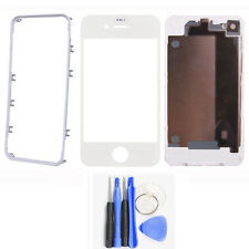 Back Cover Housing Battery Door+Front Outer Glass+Frame Bezel For iPhone 4 4s