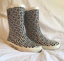 Coach Ursula Rainboots Rubber Rain Boots Women's Size 8 Black White C Logo